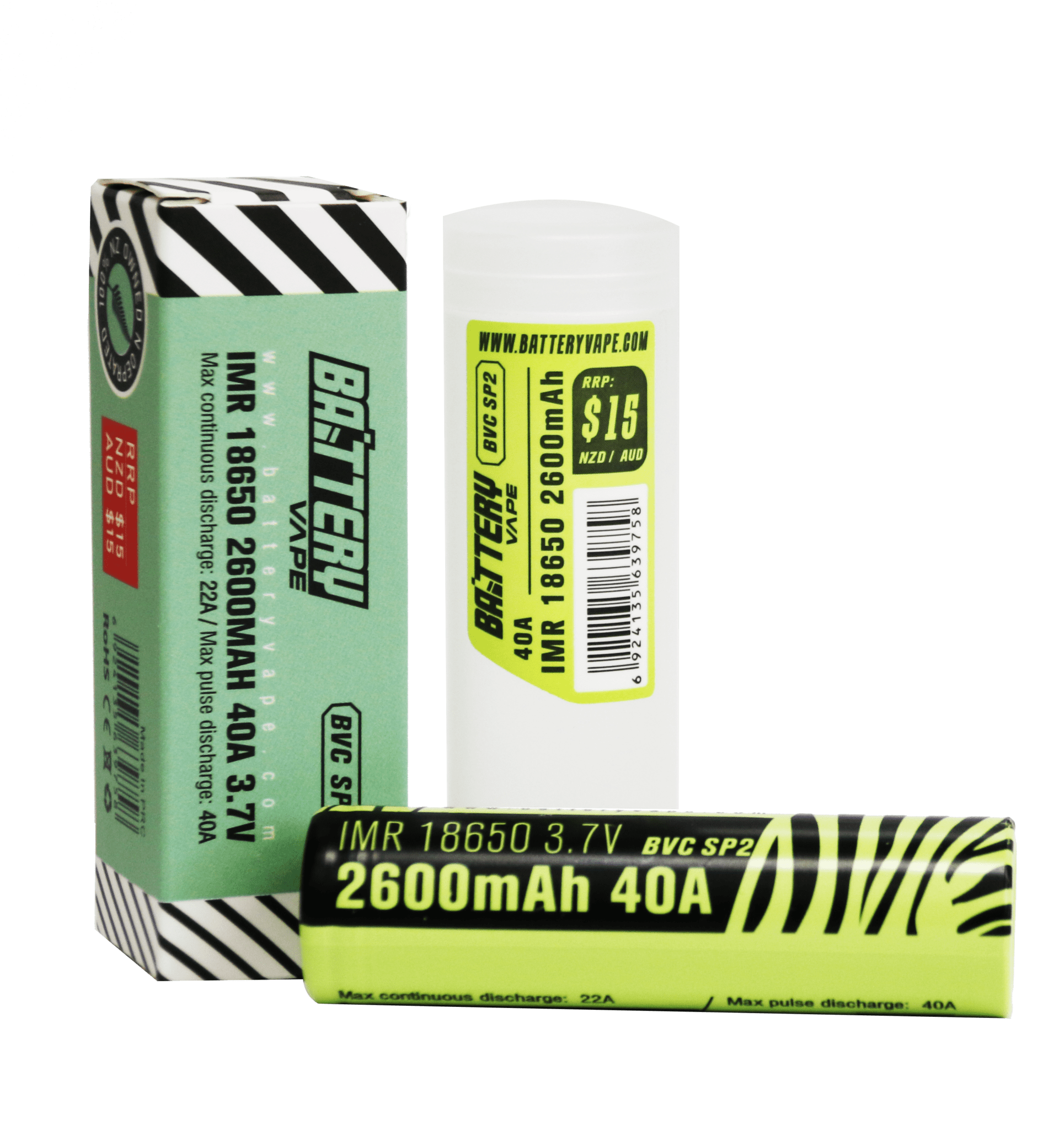 BV 18650 Battery 2600mAH 40A 3.7V retail box