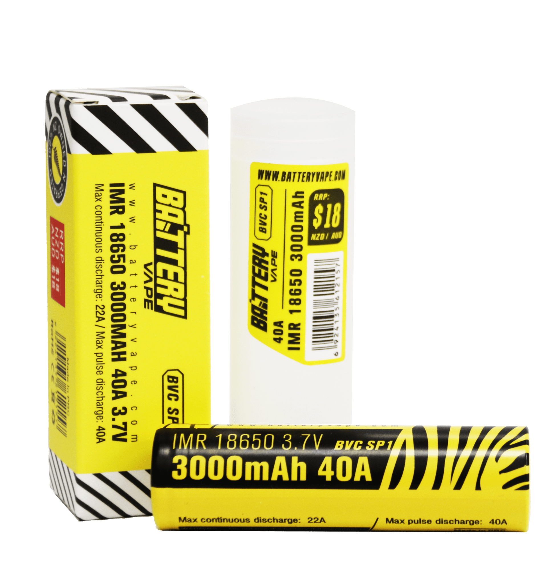 BV 18650 Battery 3000mAH 40A 3.7V retail box